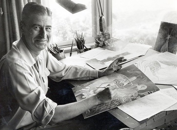 Theodor Geisel at work in his studio. Photo courtesy of Dr. Seuss Enterprises, LP