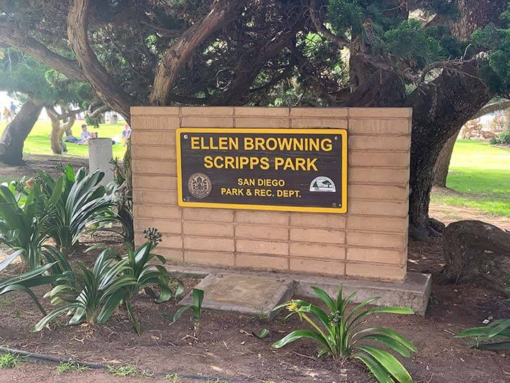 Sign for Ellen Browning Scripps Park home of The Lorax Tree