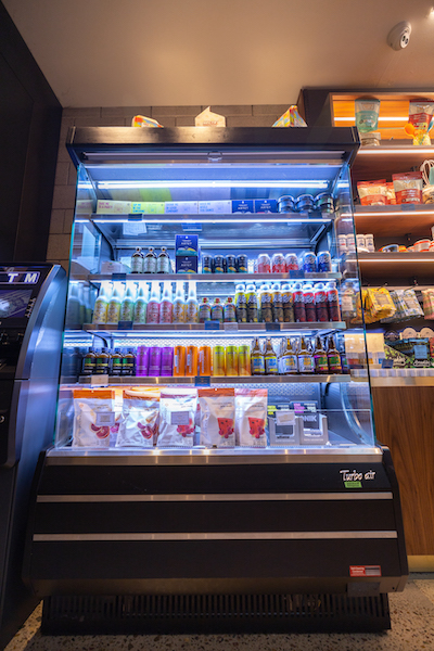 Refrigerated CBD and cannabis products at a dispensary