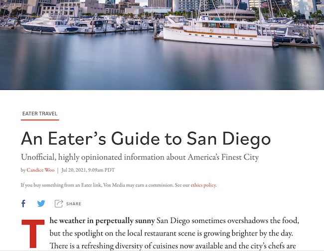 The Easter San Diego Restaurant Guide