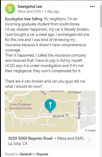 Nextdoor post about UCSD tree falling