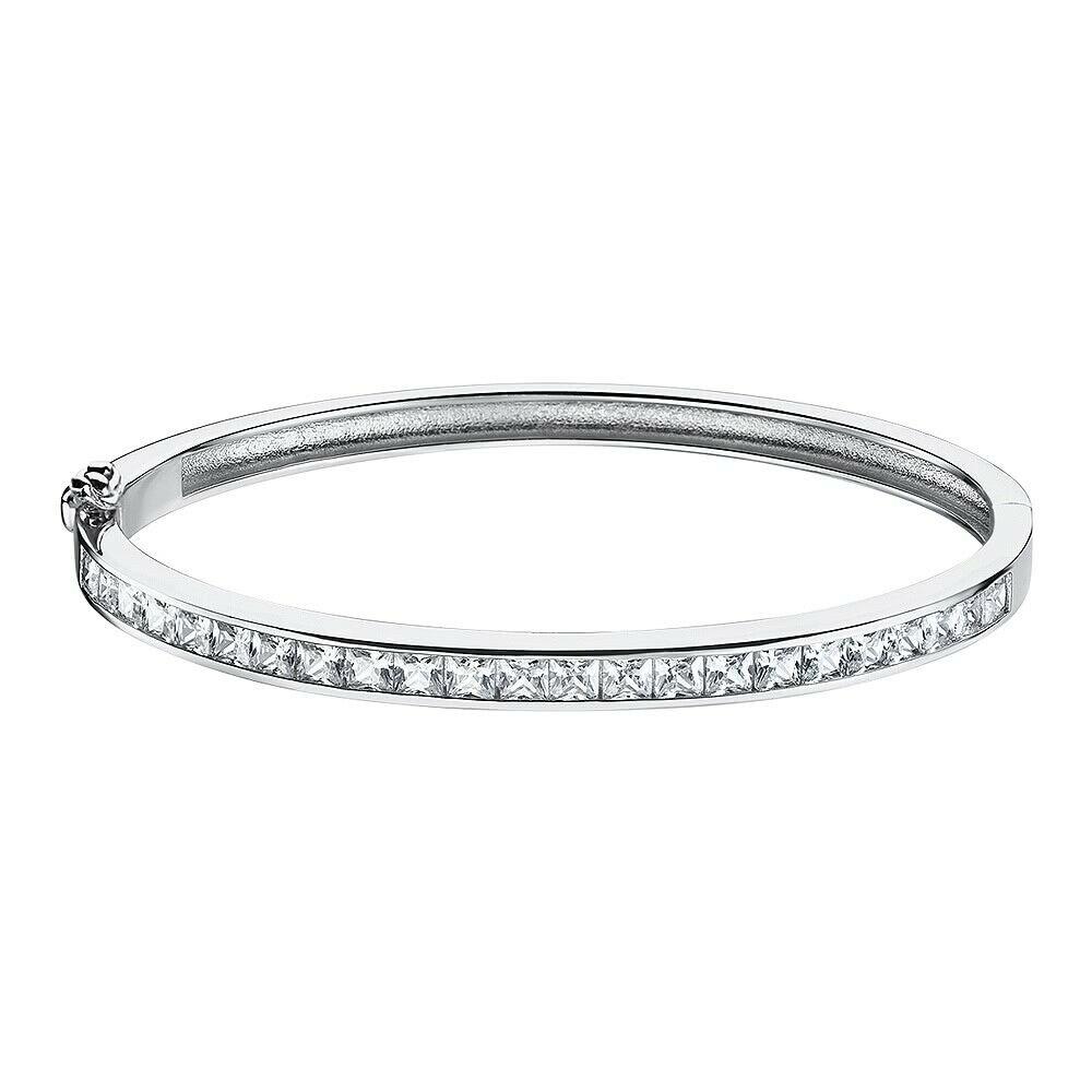 pulsera plata mujer lotus silver de brazalete con la parte superior cubierta de circonita