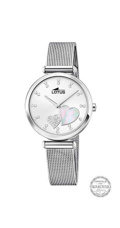 Reloj lotus mujer con corazones en la esfera