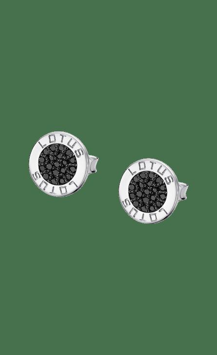 Pendiente plata centro circonita negra y bisel en brillo