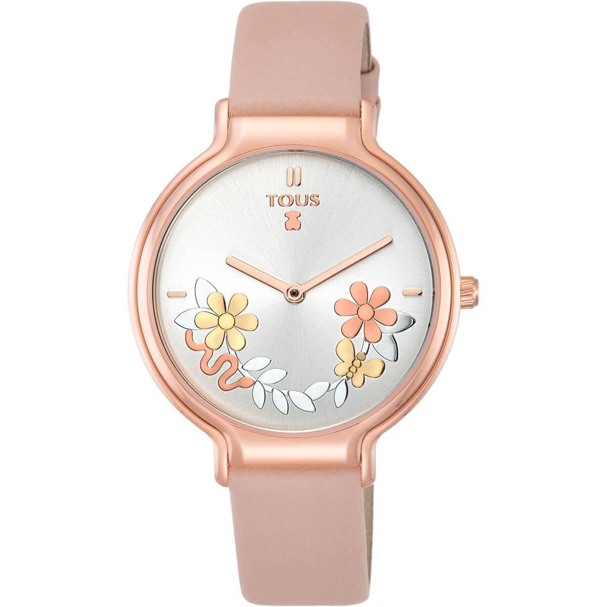 Reloj tous mujer fondo de esferra color plata y caja acabado en ip rosado.