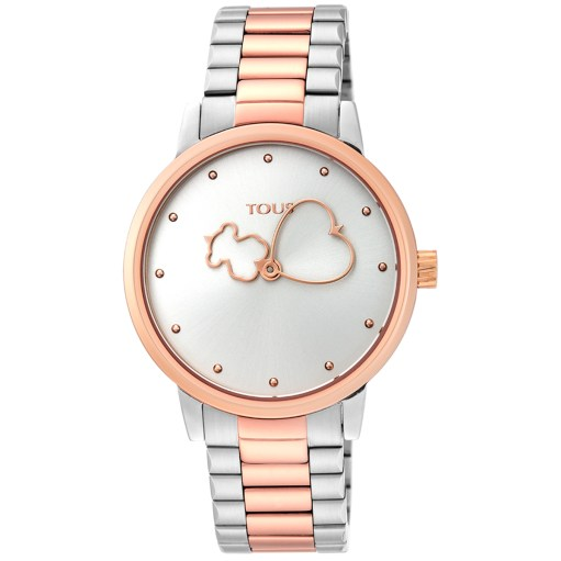 Reloj Tous bicolor combinado en acero con color rosé. La esfera es de color plata y las agujas son en las horas un oso y en el minutero un corazón