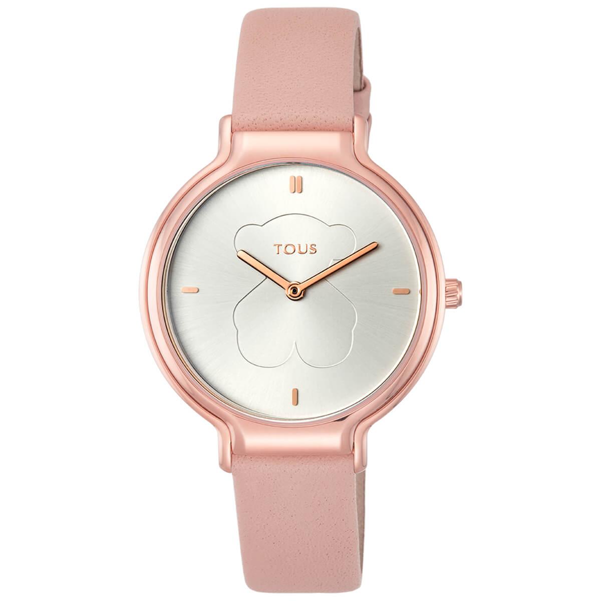 Reloj TOUS con caja de acero acabado en color rosado. Fondo de la esfera color plata . Diametro 34 mm. Resistente al agua 5 ATM.