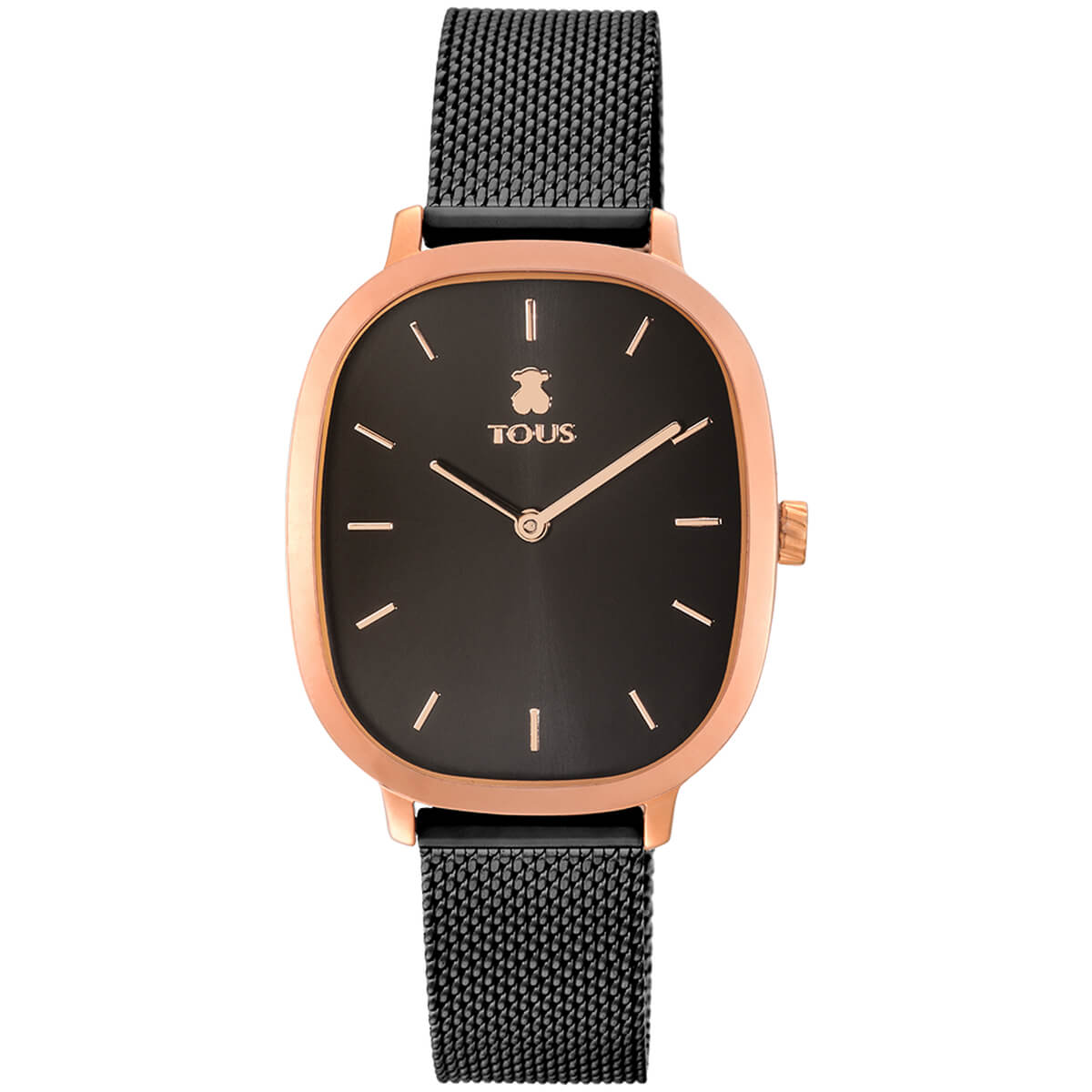 Reloj Tous con cadena de malla en color negro caja color rose con fondo de la esfera en color negro. Indices y agujas en color rosa