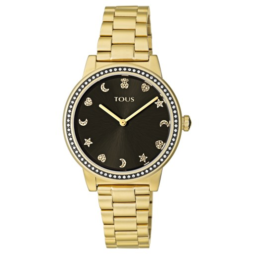 Reloj tous dorado con esfera negra, los indices estan formados por corazones, estrellas , lunas y oso. El bisel es de circonitas.