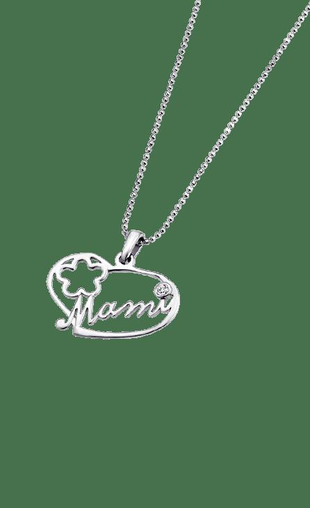 Collar plata con cadena de bolita y colgante con forma de corazón con la palabra mami calada en el centro del colgante y una flor
