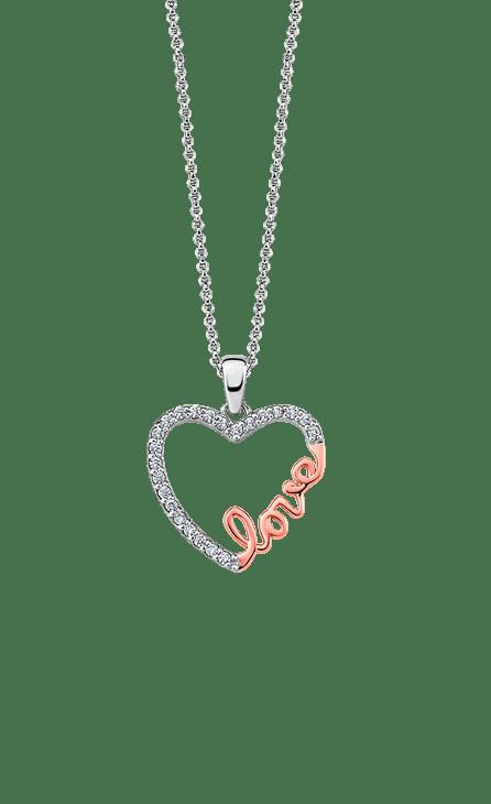 Collar plata mujer bicolor con cadena de 45 cm y corazón con circonita en una media luna del corazón y en la otra la palabra Love en color rosé