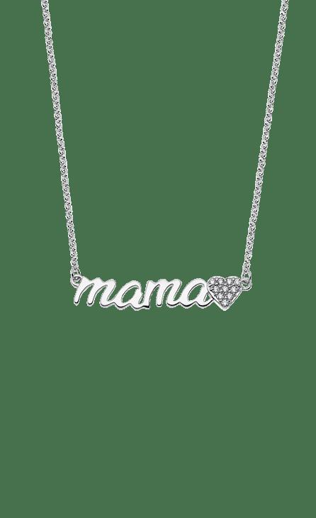 Collar plata 45 cm con cartel de MAMA y al final un corazón con circonita.