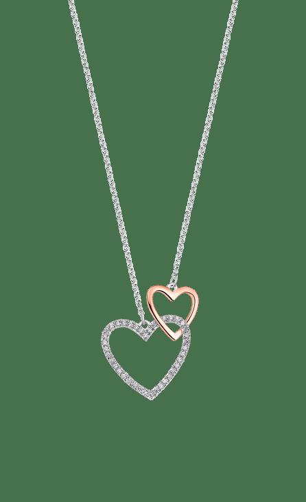collar plata mujer con doble corazón enlazado uno más grande con circonita y otro más pequeño en color rosé