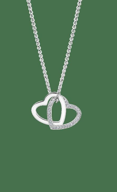 Collar plata mujer lotus Silver de 45 cm con dos corazones enlazados uno con circonitas y otro liso