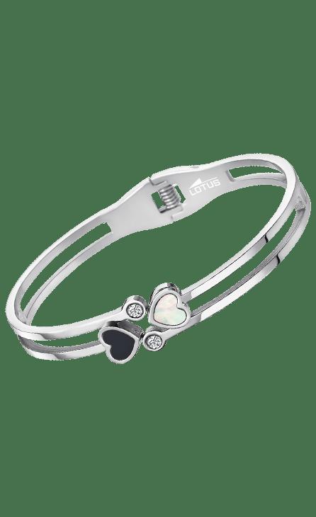 Pulsera mujer acero ls1888-2/1 Lotus Style con forma de brazalete y dos corazones en la parte superior con circonita. El sistema de apertura es mediante un muelle que le da la sensacion de elasticidad.