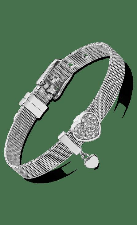 pulsera mujer plata con cadena de malla y colgante con forma de corazón cuajado de circonitas