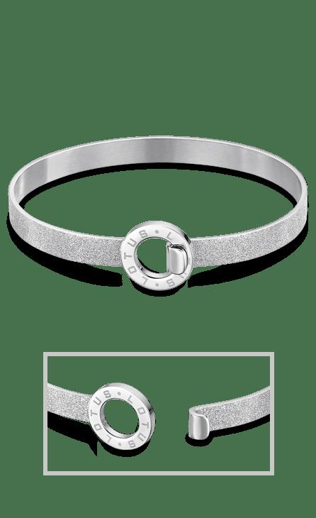 Pulsera de acero brazalete diamantado con circulo de la vida al centro que sirve de cierre