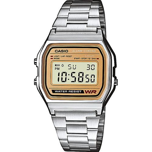 Reloj Casio digital color plata 158WEA-9EF la colección Vintage. Diseño atemporal, lineal y confiable - así se ve el reloj perfecto para los amantes de los relojes de época clásica, que no solo se preocupan por la apariencia, sino también por los valores internos. La correa de acero, la caja de resina y su aspecto digital color dorado demuestran y definen el carácter de este reloj.