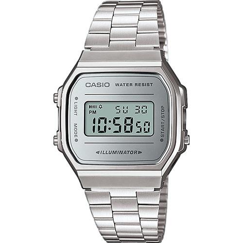 Reloj Casio digital A168WEM-7EF Vintage Collection, con correa de acero y esfera en color plata con efecto espejo. Atrevido, clásico, elegante y contemporáneo. Ninguno de los modelos te dejará indiferente. Casio…El reloj de siémpre.