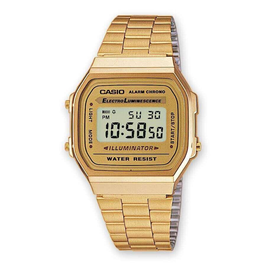 Reloj Casio Dorado a168wg-9ef. Todo un clásico, elegante , ligero, resistente. Reloj con cadena de acero bañada en dorado y esfera color Champagne. Resistente al agua, cuenta con alarma, Chrono, Fecha y a elegir formato horario en 24 ó 12 horas.