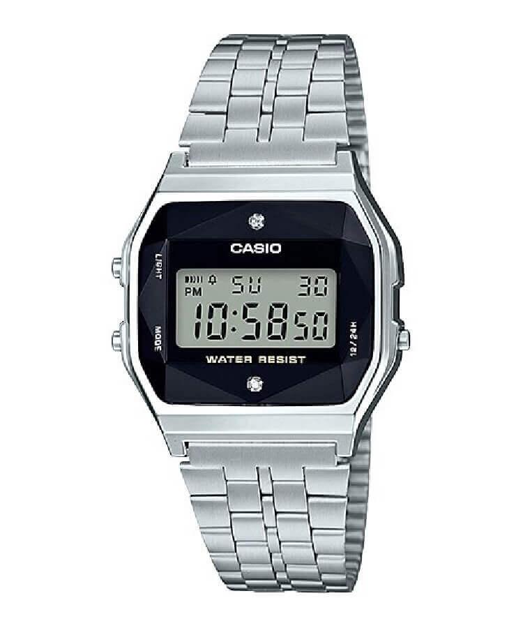 Reloj Casio digital diamantes a159wad-1df. Este increible reloj Casio incorpora un diamante en cada extremo del reloj, es resistente al agua y tiene cronografo, alarma y luz. Puedes elegir el formato de horario entre 12 y 24 horas.