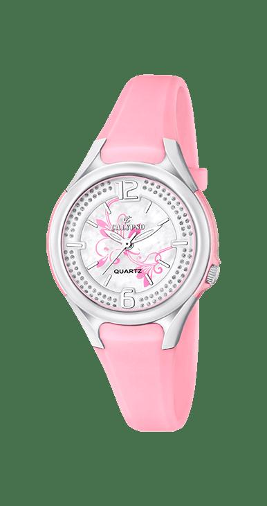 Reloj niña rosa K5575/2 Calypso analógico rosa, resistente al agua hasta 100 metros, diametro de la esfera 34 mm, agujas luminiscentes con el interior de la esfera estampada.