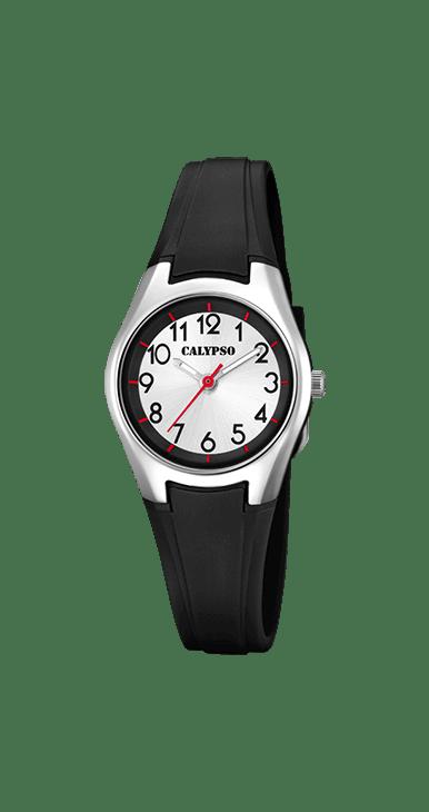 Reloj mujer deportivo K5750/6 Calypso con correa negra, diametro de la caja 26 mm. Fondo de la esfera blanca con agujas luminiscentes. Resistencia al agua 100 metros.