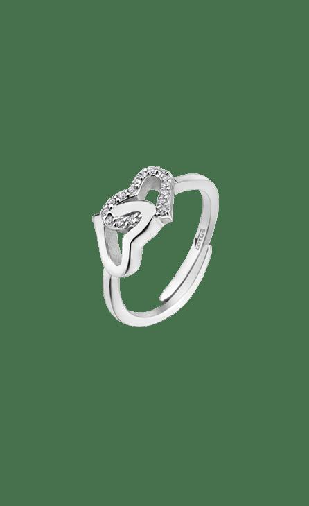 Anillo mujer plata LP1594-3/1 Lotus Silver ajustable con doble corazón enlazado combinado con circonitas. Frescura, ímpetu, arrogancia…, vive la magia de la plata fusionada con los diseños más urbanos y contemporáneos.