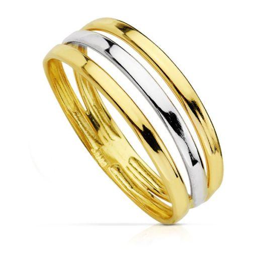 Anillo oro 18 Kte bicolor tres bandas SO1/14424. Precioso diseño, elegante y dinamico que fusiona ambos tonos del oro en una estructura dinámica. Todos nuestro árticulos de joyería vienen debidamente contrastados por los más prestigiosos laboratorios de metales preciosos Españoles.