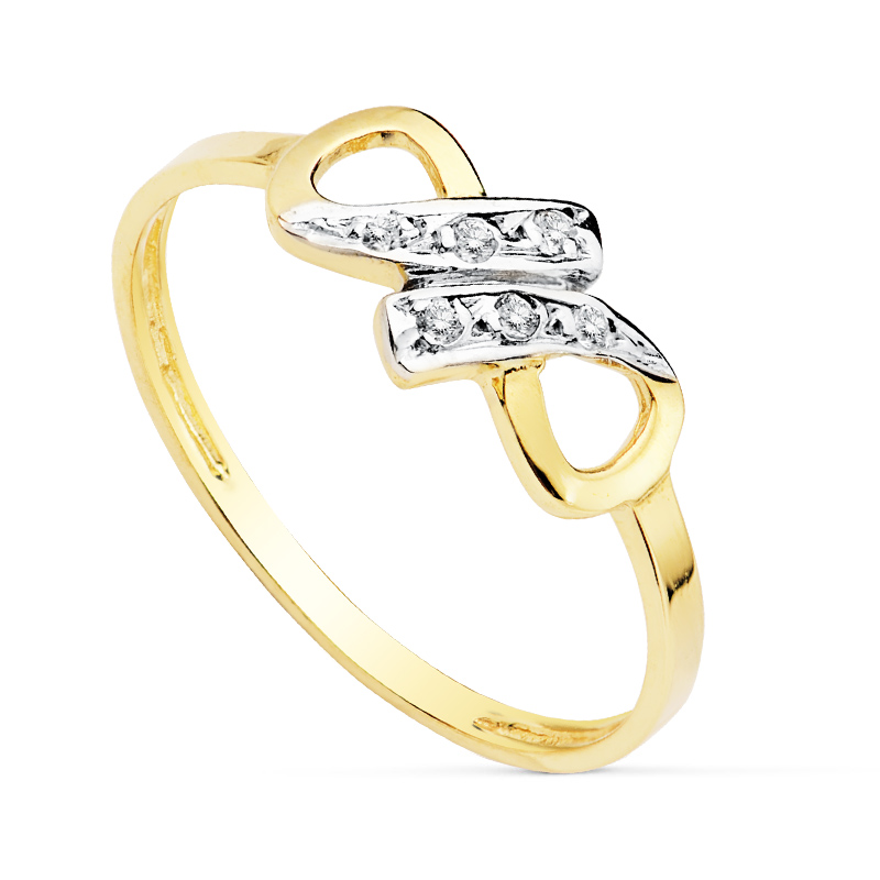 Anillo de oro infinito 18 Kte SO1/19360. Sortija de diseño equilibrado, combina el dinamismo en el diseño con una montura de oro blanco cuajada de circonitas.