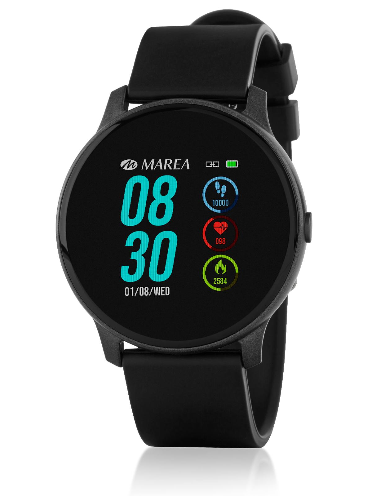 Reloj Marea Smartwatch Negro B59006/1 Reloj Marea Smartwatch Negro B59006/1. Cuenta con pantalla de 1.3 pulgadas una batería de 140 mAh lo que viene a suponer una duración de tres días de uso y el Diámetro de la caja es de 44.5 pulgadas. Material de la caja de plástico y catalogación de resistencia al agua IP67. Material de la correa Silicona. El reloj te ofrece la posibilidad de establecer meta de pasos, controlar la presión sanguínea, monitorear el sueño, la frecuencia cardiaca y el oxígeno en sangre. Recibe las notificaciones de redes sociales, email, llamadas, etc. También puedes controlar la música y la cámara del móvil de forma remota. Posee modo deporte, recordatorio sedentario y la opción de encontrar el reloj. Para más información, guía de uso y configuración de la aplicación pinche AQUÍ