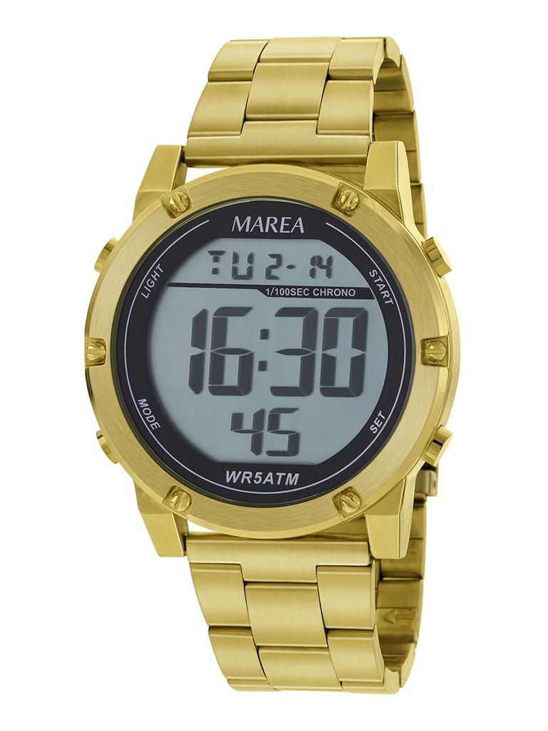 Reloj Digital Marea Dorado Hombre B35332/3 Reloj Digital Marea Dorado Hombre B35332/3. Reloj digital con Pantalla LCD y cadena de acero terminada en dorado. Resistente al agua hasta 50 metros y la composición de la caja es de metal. Diametro de la esfera 43 mm.