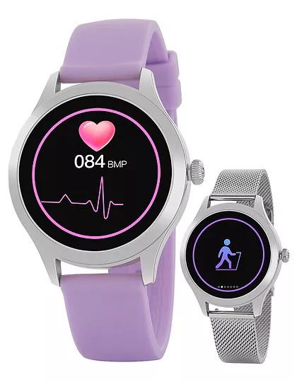 Reloj Marea Smartwatch B59005/4 Plata nuevo modelo de la colección Smartwatch de marea con una panatalla de 1.09 pulgadas, bateria de 180 mAh ( tres días de uso normal y 8 días en standby). Tamaño de la esfera de 38 mm y una impermeabilidad IP68. El reloj cuenta con dos correas, una de caucho rosa y otra de acero de malla milanesa acabada en rosa. Puedes leer las instrucciones del reloj AQUÍ Entre las distintas funciones se encuentran: Calorias consumidas Distancia recorrida Paso Establecer meta de paso Monituorización del sueño Frecuencia cardiaca Prueba automática FC Presión sanguínea Oxígeno en sangre Ciclo Menstrual Modo Sport Recordatorio Sedentario y para beber agua Notificación de llamadas Notificaciones RRSS ( Facebook, instagram, etc) Leer mensajes recibidos Alarmas Cronógrafo Impermeable Control remoto música y camara Elegir pantalla de inicio Encontrar reloj.
