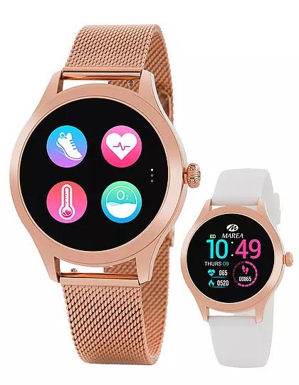 Reloj Marea Smartwatch B59005/5 Rosa nuevo modelo de la colección Smartwatch de marea con una panatalla de 1.09 pulgadas, bateria de 180 mAh ( tres días de uso normal y 8 días en standby). Tamaño de la esfera de 38 mm y una impermeabilidad IP68. El reloj cuenta con dos correas, una de caucho rosa y otra de acero de malla milanesa acabada en rosa. Puedes leer las instrucciones del reloj AQUÍ Entre las distintas funciones se encuentran: Calorias consumidas Distancia recorrida Paso Establecer meta de paso Monituorización del sueño Frecuencia cardiaca Prueba automática FC Presión sanguínea Oxígeno en sangre Ciclo Menstrual Modo Sport Recordatorio Sedentario y para beber agua Notificación de llamadas Notificaciones RRSS ( Facebook, instagram, etc) Leer mensajes recibidos Alarmas Cronógrafo Impermeable Control remoto música y camara Elegir pantalla de inicio Encontrar reloj.