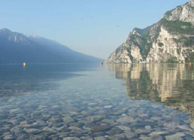 The beautifully clear water of the lake