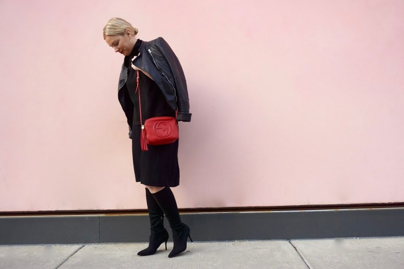 All black outfit, Pop of Red!