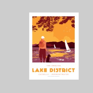 Art print of Catbells in the Lake District by Johnny Walker, from Lake District Designs, showing a woman walking her dog by the western shore of Derwent Water, within 3 miles of the busy tourist town of Keswick.