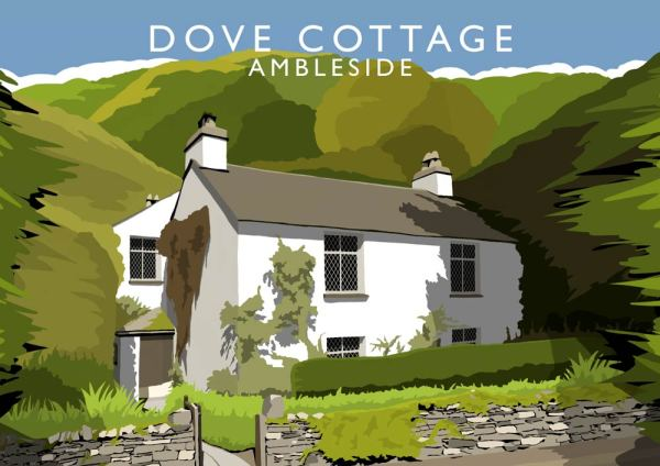 Digital art print of Dove Cottage by Richard O'Neill. Colourful, minimal print.