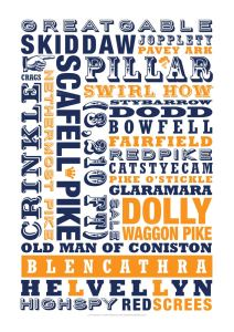 Typographic print featuring the names of all Lake District mountains, including Blencathra, Pillar, Skiddaw, The Great Gable and Scaffle Pike.