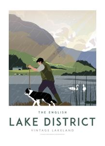 Lake District art print by Johnny Walker, creator of Lake District Designs. The digital artwork shows a shepherd walking his dog up Lake District mountains.