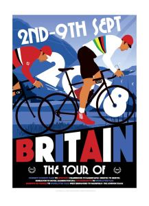 Great British Tour print of two men cycling, background colours are blue white and read. Typography is present on the print by Johnny Walker