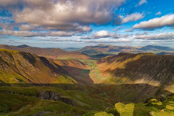 Coloured photography print of he Newlands Valley from Dale Head by Lake District based photographer Andy Bell, showing Dale Head's fell which stands immediately north of Honister Pass, between Borrowdale and Buttermere.