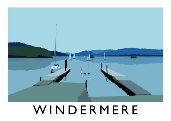 Digital print of Windermere by local artist Richard O'Neill, showing the lakes, boats, and mountains.