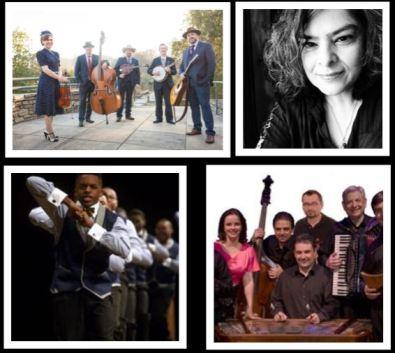 Composite photo of Saturday evening performers Carolina Blue, Luca Mundaca, Harmonia and Distinguished Gentlemen of Spoken Word