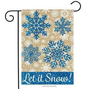 Let it Snow Burlap Garden Flag