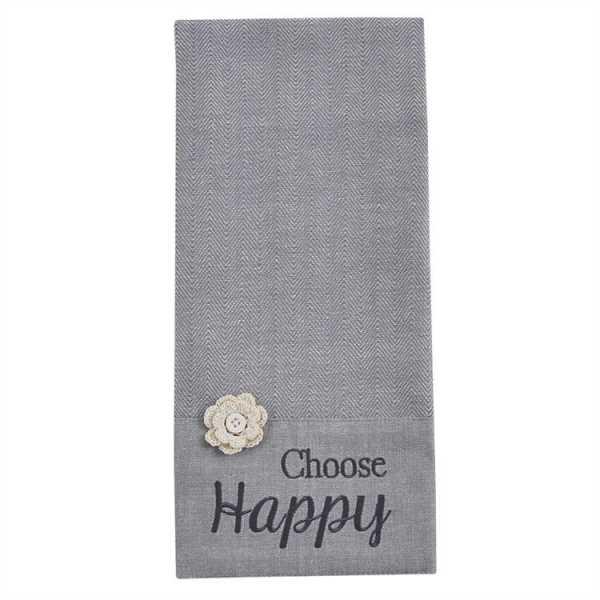 Choose Happy Embroidered Dishtowel