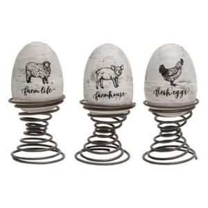 Set/3 Farm Life Eggs on Springs