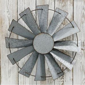 Galvanized Windmill Wall Art