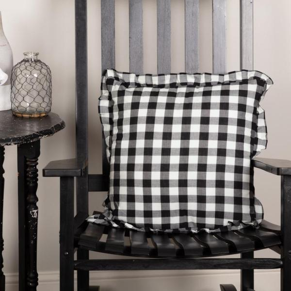 ANNIE BUFFALO CHECK RUFFLED FABRIC PILLOW 18X18