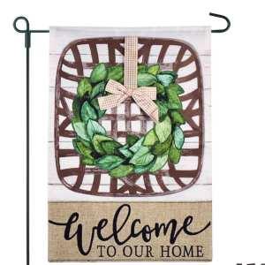 Tobacco Basket Burlap 2-Sided Garden Flag